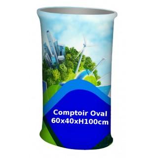 Comptoir pliable oval tissu